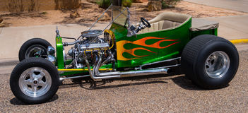 Hot Rod Green Yellow Flames. Hot Rod being shown at a open air car show Royalty Free Stock Photo