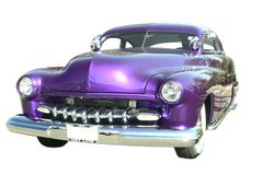 Hot Rod Street Car Isolated. Purple metallic custom modified street rod Stock Photography