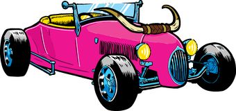 Hot Rod style car with large horns Royalty Free Stock Image