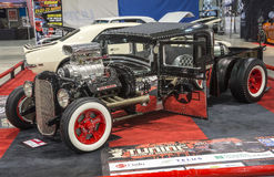 Hot rod truck. Picture of rat rod truck in display during the salon de l`auto sport de quebec, april 7-8-9 2017 Royalty Free Stock Images