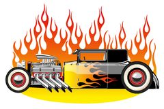 Hot rod. A vector illustration of a vintage hot rod. Gradient mash Royalty Free Stock Photography