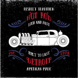 Hot rod vehicle. Design and decoration elements.Typography t-shirt design for apparel Royalty Free Stock Photography