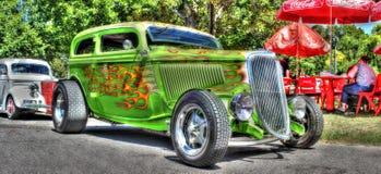 Hot rod vert sur commande Image libre de droits