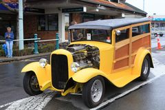 A Ford Model A hot rod and `woody` royalty free stock photography
