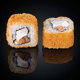 Hot roll with salmon, crab and cream cheese Stock Image
