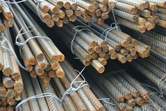Hot rolled deformed steel bars a.k.a. steel reinforcement bar Stock Photo