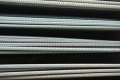 Hot rolled deformed steel bars a.k.a. steel reinforcement bar Royalty Free Stock Image