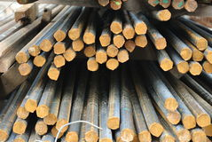 Hot rolled deformed steel bars a.k.a. steel reinforcement bar Stock Image