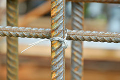Hot rolled deformed steel bars or steel reinforcement bar. Royalty Free Stock Photos
