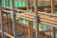 Hot rolled deformed steel bars or steel reinforcement bar. Stock Photo