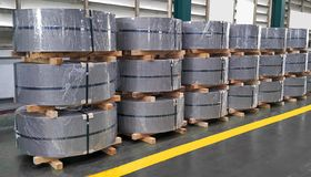 Hot rolled steel coil in manufacturing, Metal sheet industrial royalty free stock photography