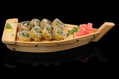 Hot rolls in the boat Royalty Free Stock Photo