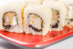 Hot rolls Nori fish sushi frying rice cheese Philadelphia California salmon. Hot rolls Nori fish sushi rolls frying rice cheese Philadelphia California salmon Stock Photos