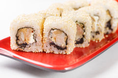 Hot rolls Nori fish sushi frying rice cheese Philadelphia California salmon. Hot rolls Nori fish sushi rolls frying rice cheese Philadelphia California salmon Royalty Free Stock Photo