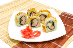Hot rolls on the plate closeup. horizontal photo. Stock Photos