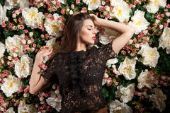 Hot romantic sensual woman posing on flower background. In studio photo. Beauty concept. Floral decoration Royalty Free Stock Image