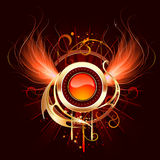 Hot round banner with fiery wings. Artistically painted, red-hot round banner with fiery wings phoenix on a black background Royalty Free Stock Photo