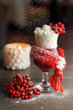 Hot rowanberry Cocktail in snowfall Stock Images