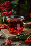 Hot rowanberry tea in glass cup,. Rustic background Royalty Free Stock Images