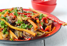 Hot salad with eggplant, beef and pepper. Asian cuisine. Hot salad with eggplant, beef and pepper Stock Photography