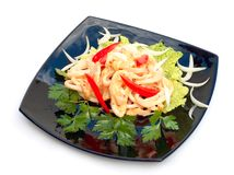 Hot Salad with seafoods. Stock Image