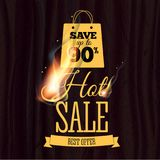Hot sale badge design template with realistic fire flame on wooden texture. Vector illustration. Fire realistic background. Hot sale. Vector illustration Vector Illustration