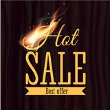 Hot sale badge design template with realistic fire flame on wooden texture. Vector illustration. Fire realistic background. Hot sale. Vector illustration Stock Illustration