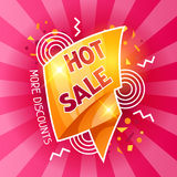Hot sale banner. Advertising flyer for commerce, discount and special offer Royalty Free Stock Images