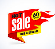 Hot Sale banner design template. This weekend special offer, big sale, discount up to 60% off Stock Photo