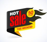 Hot Sale banner. Design template, this weekend special offer, big sale, discount up to 50% off Royalty Free Stock Images
