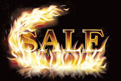 Hot sale banner with fire, vector. Illustration Stock Image