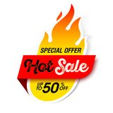 Hot Sale banner. Special offer, big sale, discount up to 50% off Stock Photos