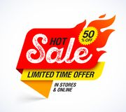 Hot Sale banner. Limited time special offer, big sale, discount up to 50% off Royalty Free Stock Photography
