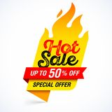 Hot Sale banner special offer. Hot Sale banner, special offer, up to 50% off Stock Photos
