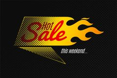 Hot sale banner template design with flame and halftone. Vector illustrations set Stock Images