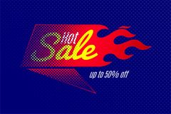 Hot sale banner template design with flame and halftone. Vector illustrations set Royalty Free Stock Photo