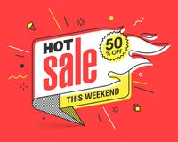 Weekend Hot Sale banner. Hot Sale banner template in flat trendy memphis geometric style, retro 80s - 90s paper style poster, placard, web banner design Stock Photography