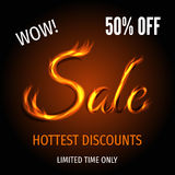 Hot sale banner with text from fire. Hot sale poster template with sign from fire. Super discount and special offer banner: 50% off. Vector illustration Stock Photography