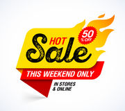 Hot Sale banner. This weekend special offer, big sale, discount up to 50% off Royalty Free Stock Image