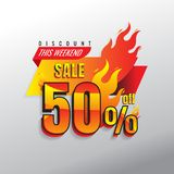 Hot Sale banner. This weekend special offer, big sale, discount. Up to 50% . Creative glowing social media banner design. vector. on gray background Stock Photography