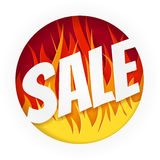 Hot Sale Banner on White Background. Designs with Flame. Image for your design projects Stock Images