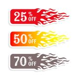 Hot sale banners 50 percent off tag. Hot sale banners discount 50 percent off tag Stock Illustration