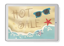Hot Sale with beach on tablet. Summertime Tropical Vacation stock illustration