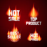 Hot Sale, Best Seller, Top Product, Hot Price. Titles in Flames, Fire Royalty Free Stock Photo