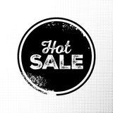 Hot Sale Black Badge with Grunge Texture on Halftone Background. Hand Drawn Lettering with Rust Fonts Combination. Handwritten Script Label for Banner, Website Royalty Free Stock Image