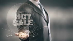 Hot Sale Businessman Holding in Hand New technologies stock footage