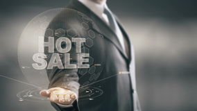 Hot Sale Businessman Holding in Hand New technologies stock video