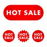 Hot sale button. Hot sale red button set. Red color sign. Vector illustration Stock Photos