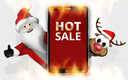 Hot Sale Christmas Red Mobile Phone Stock Photo