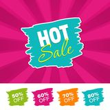 Hot sale color banner and 50%, 60%, 70% & 80% Off Marks. Vector illustration. Hot sale color banner and 50%, 60%, 70% & 80% Off Marks. Eps10 Vector illustration Royalty Free Stock Photo
